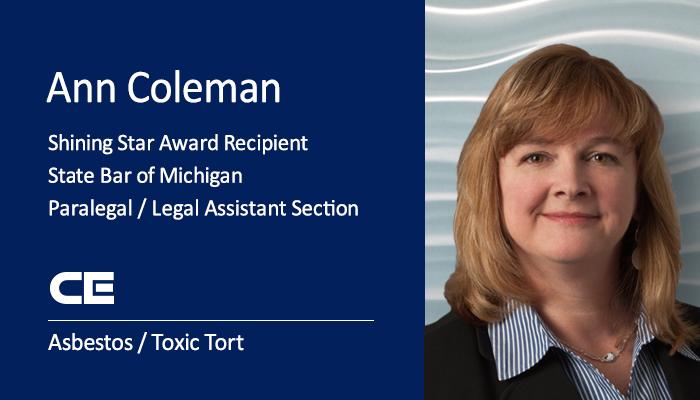 CEF Asbestos/Toxic Tort Paralegal Ann Coleman